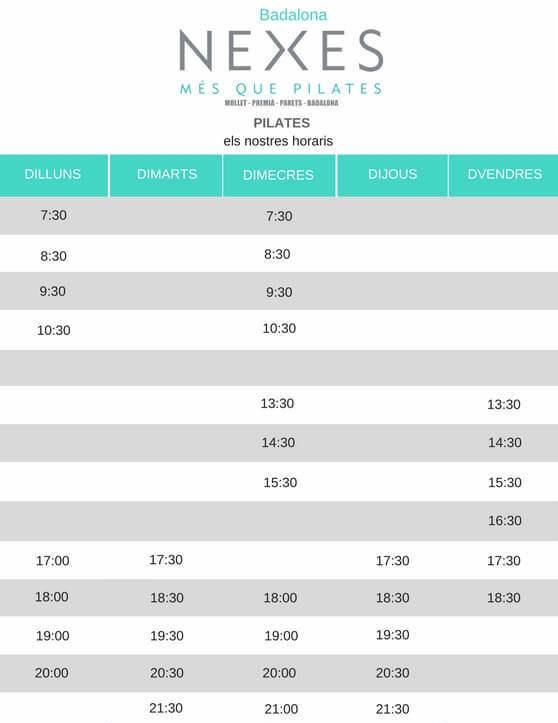 Nexes pilates Badalona horari