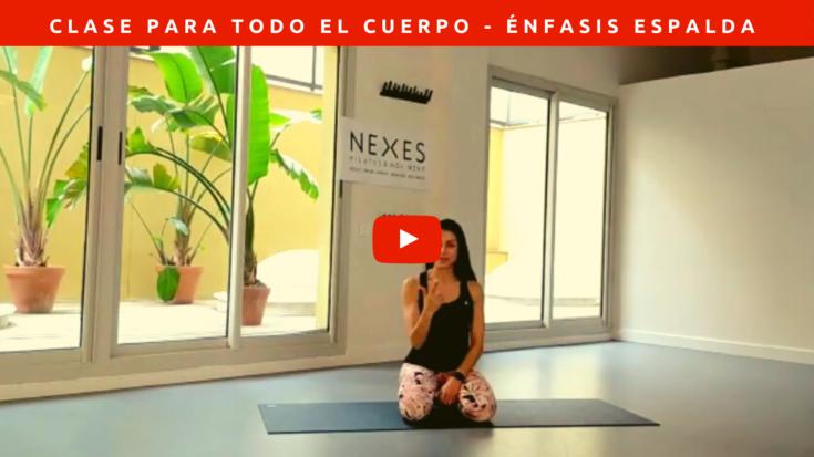 Clase de Pilates donde trabajamos todo el cuerpo y damos prioridad a mejorar el dolor de espalda